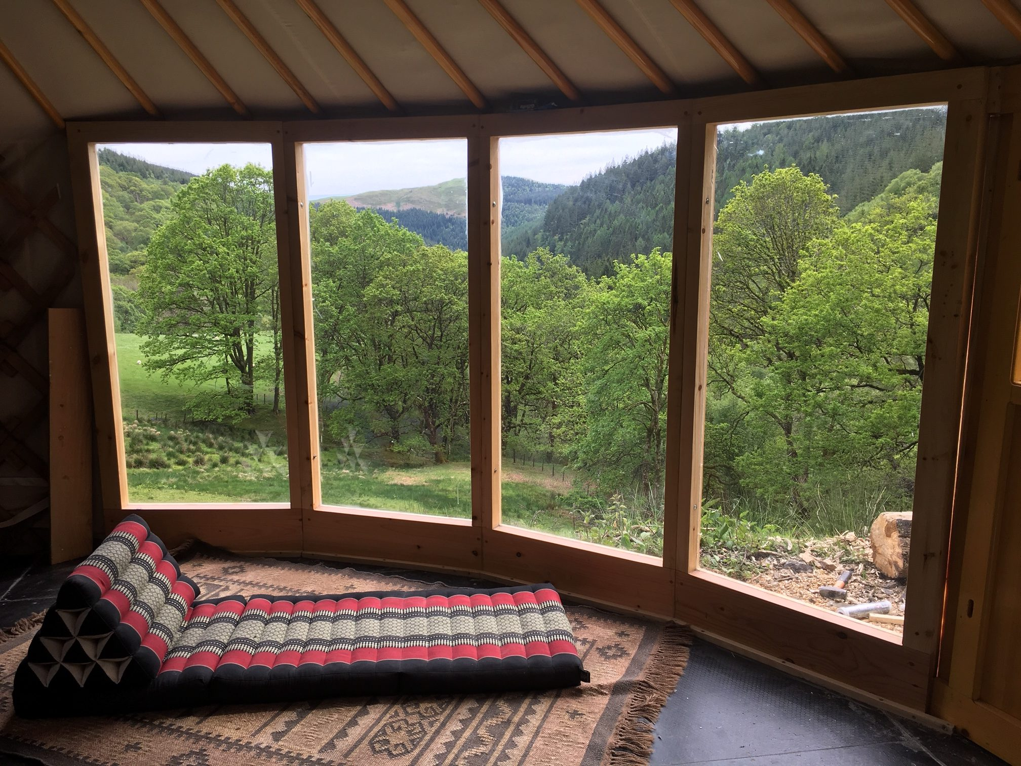 Beautiful view from a yurt on a weekend retreat