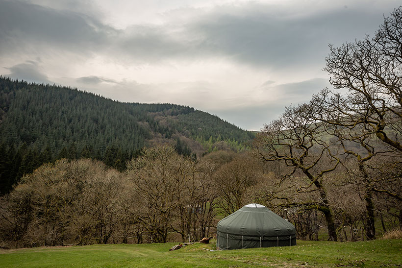 Off-grid living yurt in Wales Dyfi Forest