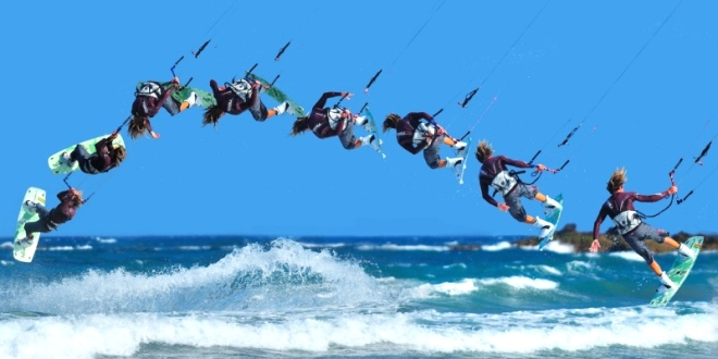 Have a go at kitesurfing or a host  of other watersports on the local waves.
